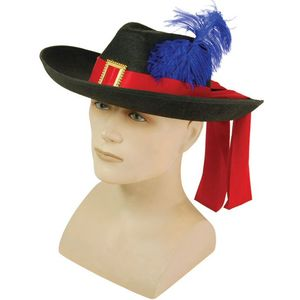Musketeer Hat With Red Sash Gold Buckle & Blue Feather