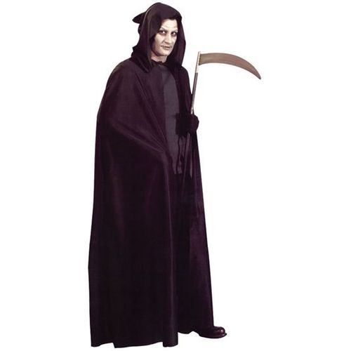 black unisex hooded cape fancy dress and halloween accessory
