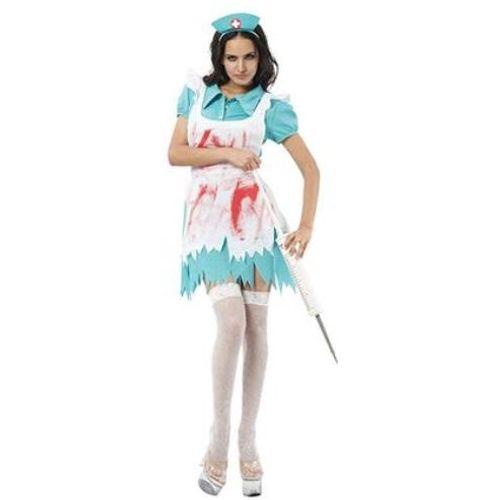 Blood Splattered Nurse`s Fancy Dress Costume Size 10-14