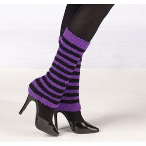 Cosy Leg Warmers (Purple & Black Striped)