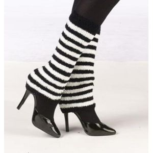 Cosy Leg Warmers (White & Black Striped)