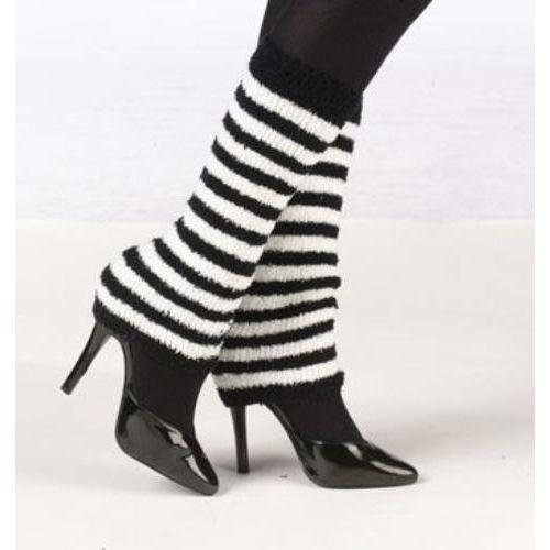 Cosy Leg Warmers White & Black Striped