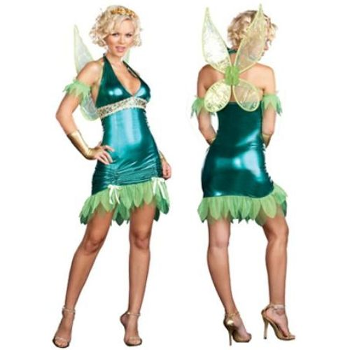 Tinkerbell Green Fairy Dreamgirl Sexy Fancy Dress Costume Size 6-8