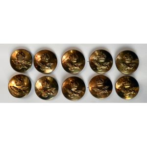 Brass Finish RAF Buttons Kings Crown & Wings 10 x 23mm