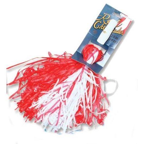 Cheerleader Pom Poms Red & White Fancy Dress Costume Accessory