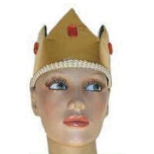 Metallic Crown Hat With Jewels (Gold & Black)