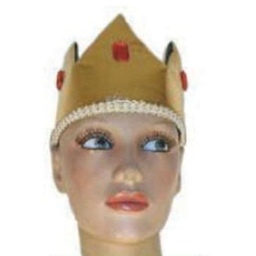 Metallic Crown Hat Gold and Black With Red Jewels