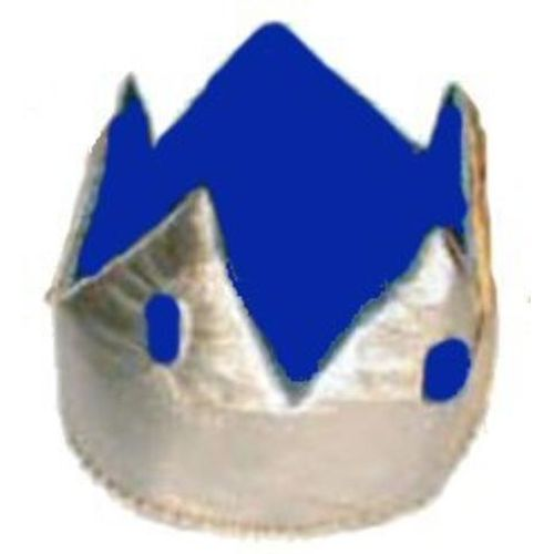 Metallic Crown Hat Silver and Blue With Blue  Jewels