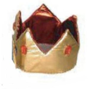 Metallic Crown Hat With Jewels (Gold & Red)