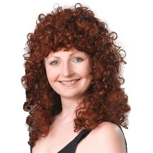 Long Curly Wench Style Auburn Wig Fancy Dress Accessory