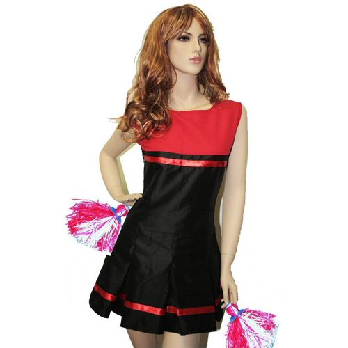 Cheerleader Dress & Pom Poms Sexy Fancy Dress Costume Size 12-14