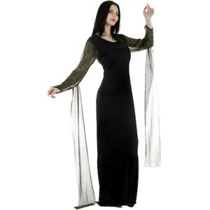 Halloween Fancy Dress Morticia Dress Size 8-10