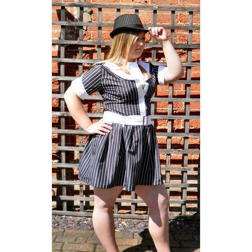 Gangster Girl Dress & Hat Sexy Fancy Dress Costume Size 12-14