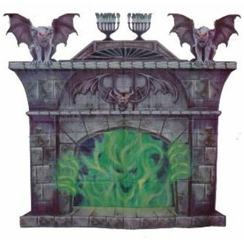 "Halloween Wall Decoration Scene Setter Fireplace With Gargoyles 35"" x 39"" approx."