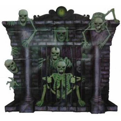 """Halloween Wall Decoration Scene Setter Fireplace With Skeletons 35"""" x 39"""" approx."""
