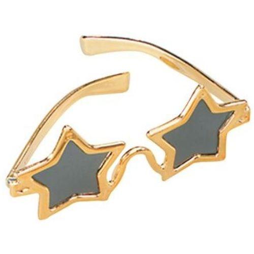 fancy dress accessory Star Shaped Glasses (Gold)