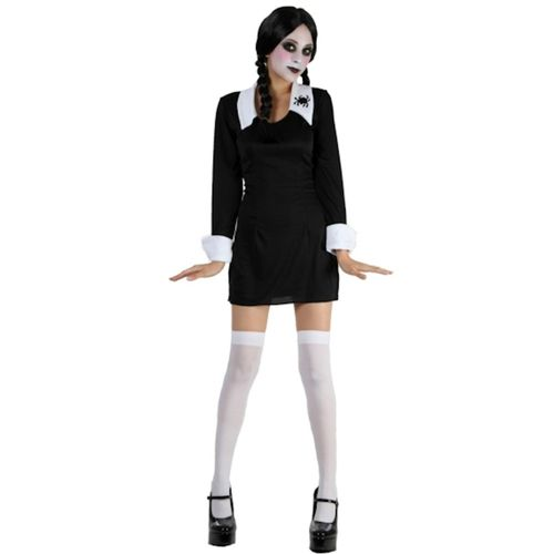 Wednesday Addams Syle Halloween & Fancy Dress Costume Size 10-12