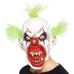 Horror Clown Latex Overhead Mask With Green Hair