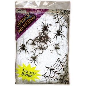 Spider Webbing White With 8 Spiders