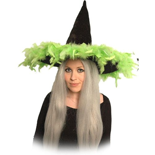 Witch Hat Black Velour With Lime Green Feather Trim Halloween and Fancy Dress Accessory