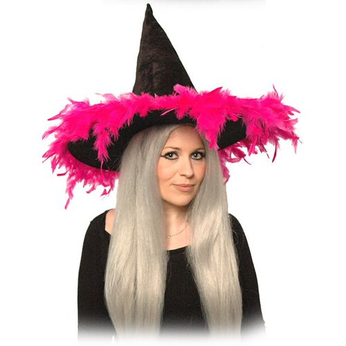 Witch Hat Black Velour With Cerise Pink Feather Trim Halloween and Fancy Dress Accessory