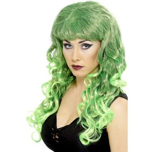 Long Curly Siren Wig (Green & Black Blend)