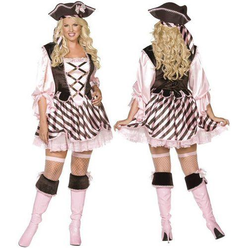 Sexy Pirate Dress & Hat Plus Size Fancy Dress Costume Size 20-22