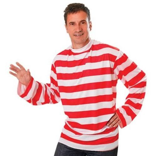 Where`s Wally Style Striped Long Sleeved Top Fancy Dress Accessory
