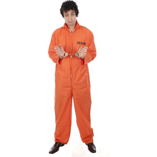 Prisoner Orange Bolier Suit Fancy Dress Plus Size Costume