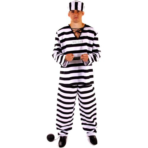 Fancy Dress Convict Prisoner Jail Stag Zombie Halloween Costumes Size S -L