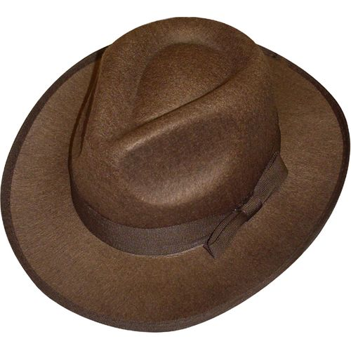Brown Felt Explorer Fedora Style Hat Fancy Dress Costume Accessory