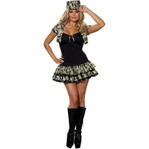 Sexy Army Soldier Girl Plus Size Costume Size 28-30