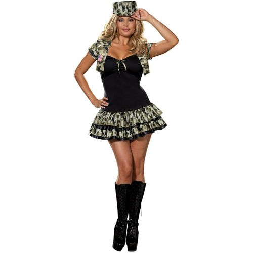 Army Soldier Girl Sexy Fancy Dress Plus Size Costume Size 28-30