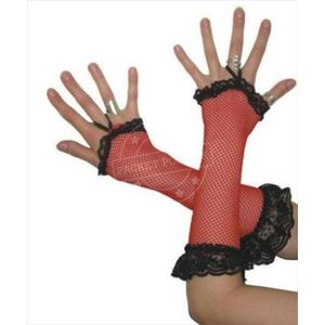 Fingerless Fishnet Gloves With Lace Trim (Red)