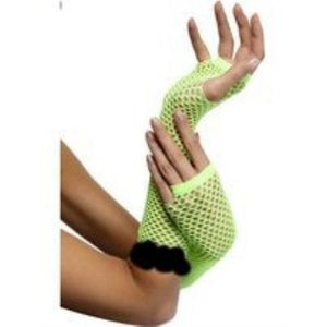 Fingerless Fishnet Gloves With Lace Trim (Lime Green)