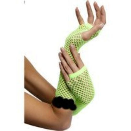 Lime green fishnet fingerless gloves with lace trim fancy dress and halloween costume accessory