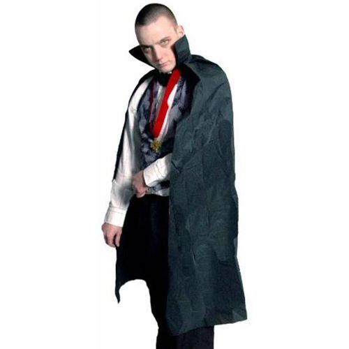 """Black DraculaVampire  Cape With Collar Approx. 43"""" Halloween and Fancy Dress Accessory"""