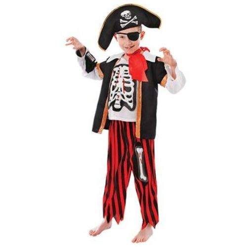 Childs Pirate Skeleton Halloween Fancy Dress Costume Age 6-9 Years