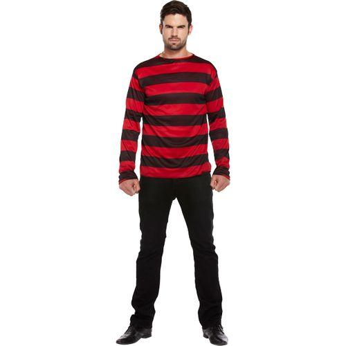 Freddy Krueger Style Red & Black Striped Long Sleeved Top Halloween & Fancy Dress Accessory
