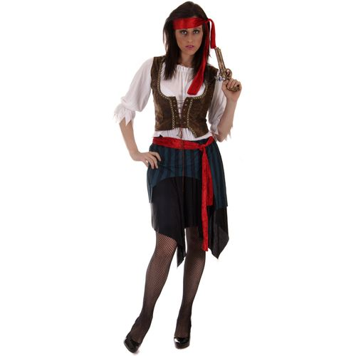 Caribbean Pirtate Lady Plus Size Fancy Dress Costume Crusader Party