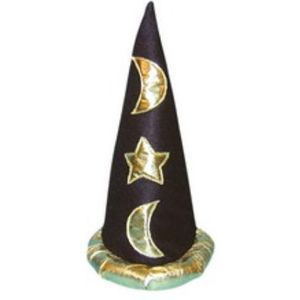 Wizard Hat Gold Appliqu Stars & Moons (Black)