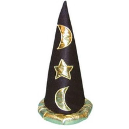 Fancy Dress And Halloween Adult Black Wizard Magician Merlin Hat  Gold Appliqué Stars & Moons