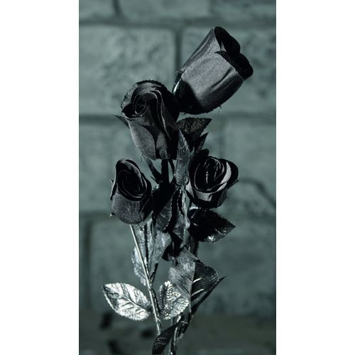 Four Black Roses Halloween Decoration Gothic Fancy Dress Costume Accessory