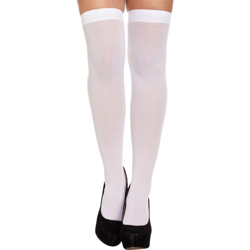 White Over The Knee Hold Up Stockings Fancy Dress Costume Accessory