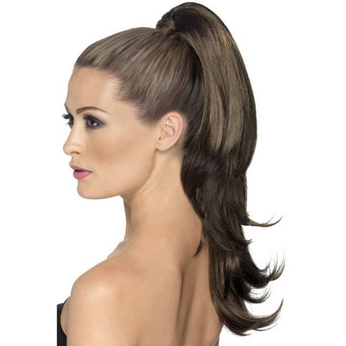 Brown Clip In Hair Extension Fancy Dress Costume Accessory