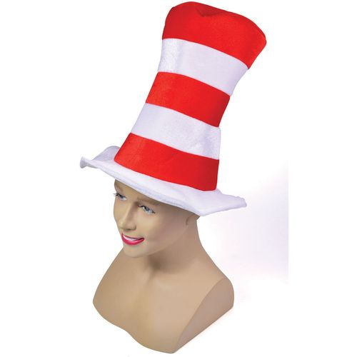 Cat In the Hat Style Red & White Striped Fancy Dress Top Hat