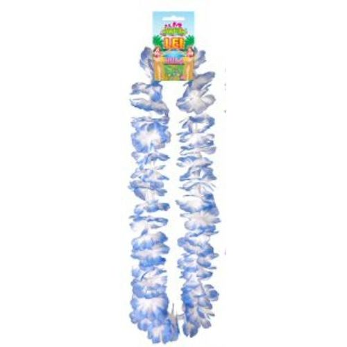 Hawaiian Hula Lei Collier Flower Garland 100cm Blue White Fancy Dress Costume Accessory