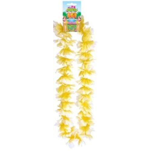 Hawaiian Hula Lei Collier Flower Garland 100cm Yellow White Fancy Dress Costume Accessory