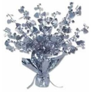 Foil Heart Balloon Weight Centrepiece (Silver) 6 Pack
