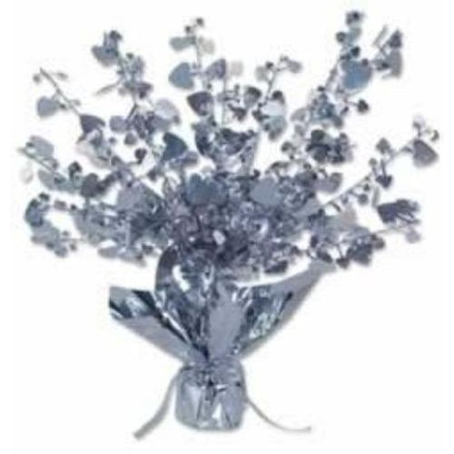 Foil Heart Balloon Weight Centrepiece Silver Party Decoration 6 Pack